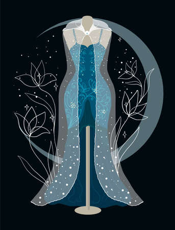 Elegant silhouette tailors dummy with a moon. Delicate flowers for background. Beautiful silhouette for stylish and luxurious designs vintage festive style