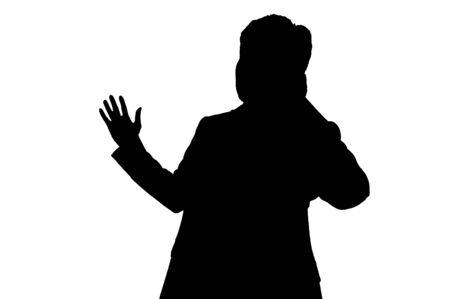 sales person: Silhouette of sales person