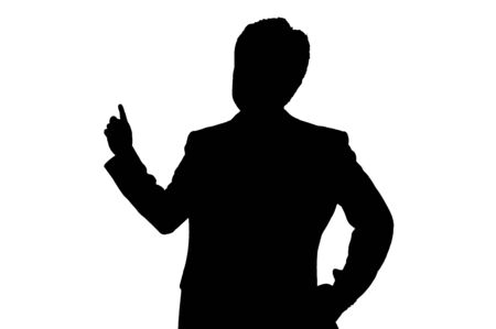 sales person: The silhouette of sales person Stock Photo