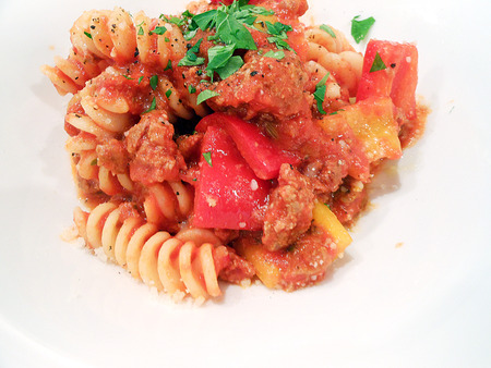 penne: Penne with tomato sauce