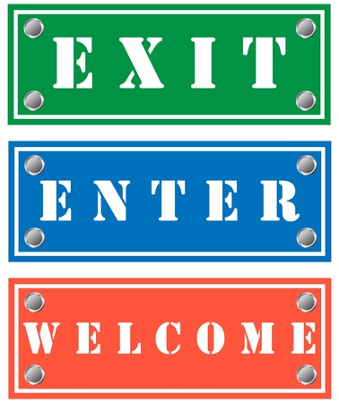 Exit, enter and welcome cardboards for shops Stock Vector - 18346342