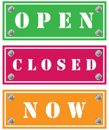 Open, closed, now sticker Stock Photo - 18346514