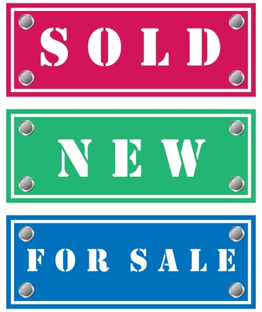 Sold, new and for sale stickers for shops