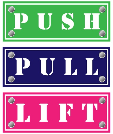 Push, pull and lift cardboards for doors Stock Photo