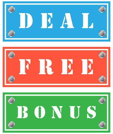 Deal, free and bonus cardboards for shops Stock Photo - 18346513