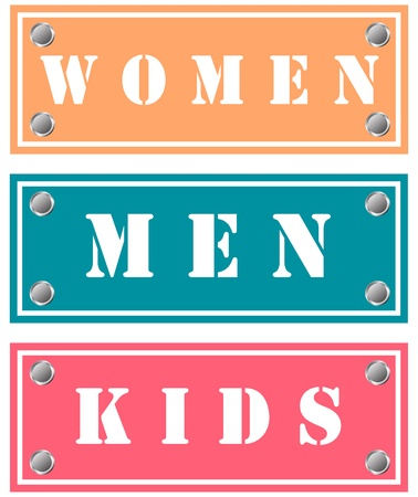Women, man and kids stickers for shops Stock Photo - 18346522