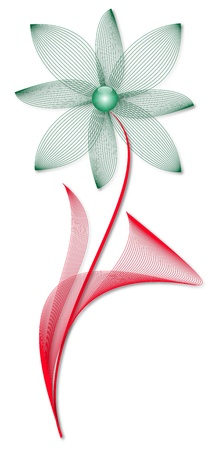 Green wire frame flower with red leaves Stock Photo