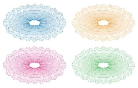 Guilloche rosette for secured documents, money pattern Illustration
