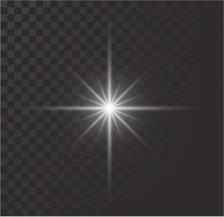 White glowing light burst explosion with transparent. Vector illustration for cool effect decoration with ray sparkles. Bright star. Transparent shine gradient glitter, bright flare. Glare texture. 일러스트