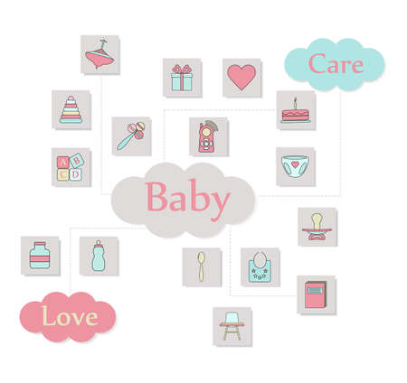 Big square web icon set. Baby care colorful ready to use isolated icons on white background. Illustration