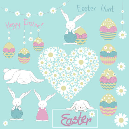 Easter doodle. Vector Illustartion contain same cute bunnies, colorful eggs, floral garland, camomile heart and text.
