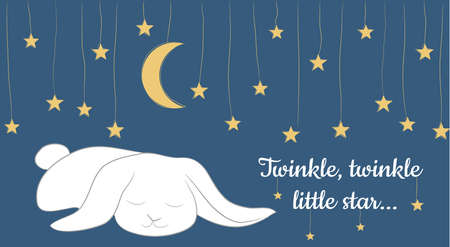 Vector Card with simple design with fairy tale background, hand drawn stars and the Moon, cute bunny, and twinkle, twinkle little star phrase. Perfect for kids Cards, banners, posters, lables, books, illustration and other kids things. Illustration