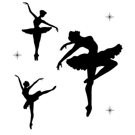 Black silhouette of dancing ballerinas