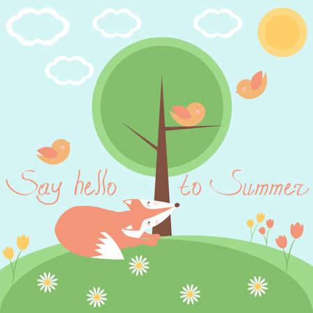 Card with fairytale landscape, fox, birds and Say hello to summer phrase. Vector illustration. Perfect for kids cards, banners and other kids things