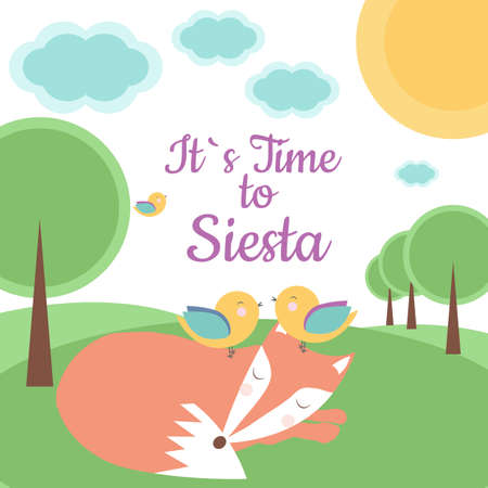 Vector card with fairy tale landscape, sleeping fox and birds. Perfect for kids banners, cards and other children things. Its time to siesta. Illusztráció