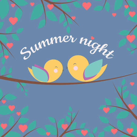 Vector Banner with fairy tale background, bright birds, herarts and Summer night phrase. Perfect for card, banner, label, poster, sticker design and other cute things