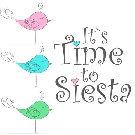 Vector Illustration.Simple design of cute fabulous sleeping birds.It`s time to siesta. Perfect for card, banners, stickers, posters and other printable things.