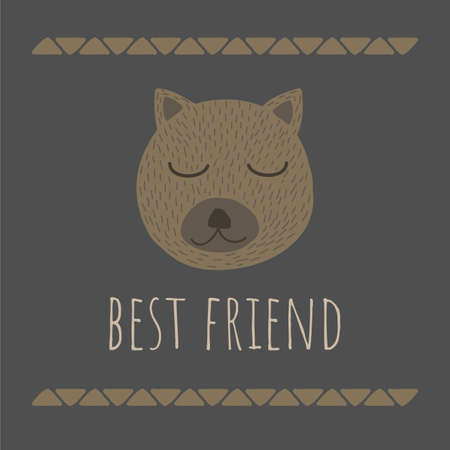 Vector Illustration with cute animal on dark background. Funny Bear Face. Retro style. Perfect for kids cards, posters, book illustration and other design projects.