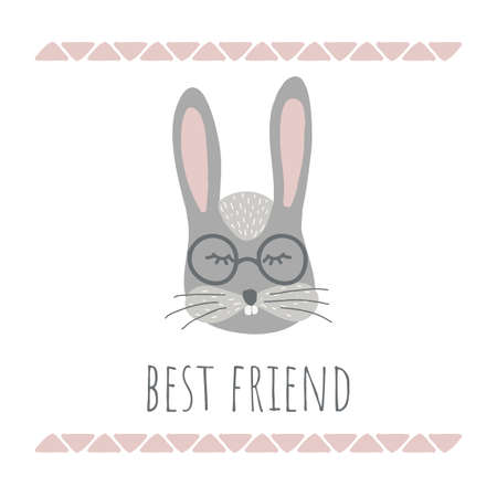 Vector Illustration with cute animal on white background. Funny bunny. Retro style. Best friend phrase. Perfect for kids cards, posters, book illustration and other design projects.