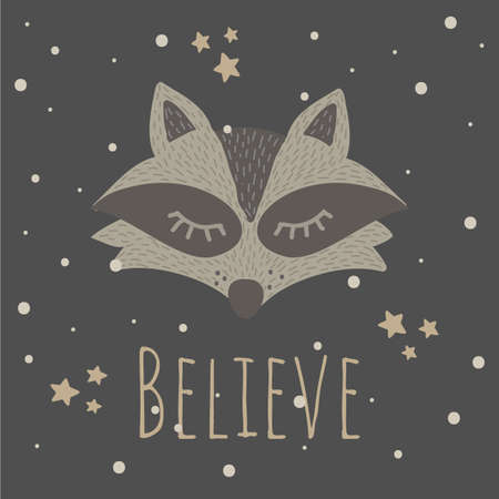 Vector Illustration with cute animal on dark background. Funny Raccoon. Believe.Retro style. Perfect for kids cards, posters, book illustration and other design projects. 向量圖像