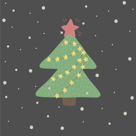 Winter and Christmas illustration with green fir tree  on dark background. perfect for kids kards, banners, book illustrations and othe design projects.Vector.