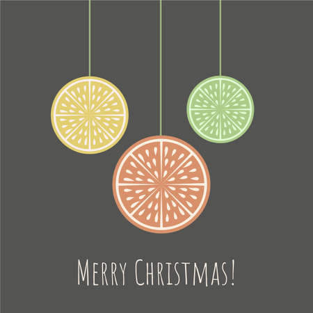 Christmas greeting card with citrus slice and Merry Christmas phrase on dark background.Retro style.Organic concept.  Perfect for cards, banners and other design projects.Vector. 向量圖像