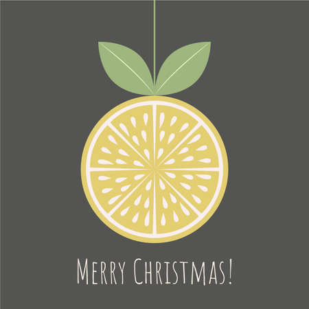 Christmas greeting card with citrus slice and Merry Christmas phrase on dark background.Retro style.Organic concept.  Perfect for cards, banners and other design projects.Vector. Illustration