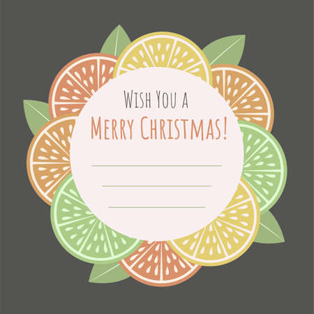 Christmas greeting card with citrus slice and Merry Christmas phrase.Template. Retro style.Organic concept.  Perfect for cards,posters, banners and other design projects.Vector.