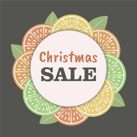 Christmas sale template with vintage citrus slice background. Organic concept. Perfect for promotion. Vector. 向量圖像
