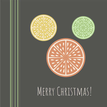 Christmas greeting card with citrus slice and Merry Christmas phrase on dark background.Retro style.Organic concept.  Perfect for cards, banners and other design projects. Vector. 向量圖像