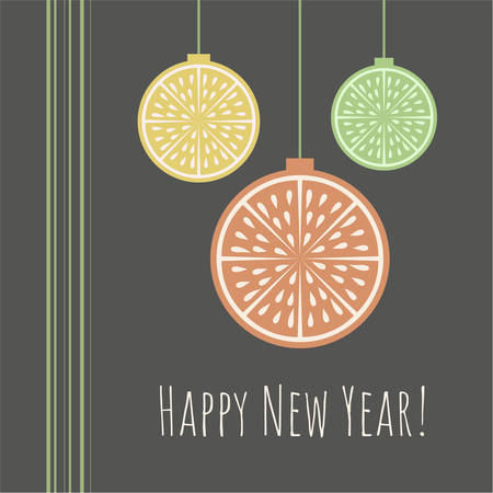 New Year  greeting card with citrus slice and Happy new year phrase on dark background.Retro style.Organic concept.  Perfect for cards, banners and other design projects.Vector. 向量圖像