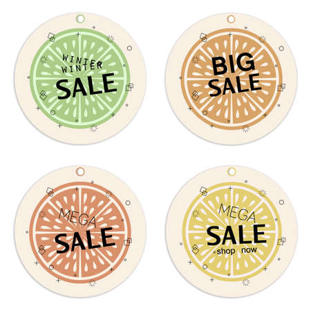 Sale tags collection.Citrus concept Template. Retro style.Organic concept.  Perfect for trade promotion,  decoration, labels, tags,cards,posters, banners and other design projects.Vector. Ilustração