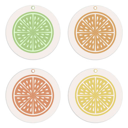 Labels and tags collection.Citrus concept Template. Retro style.Organic concept.  Perfect for trade promotion,  decoration, labels, tag sand other design projects.Vector.