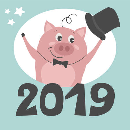 A cute pig is greeting New Year and Christmas.Beautiful winter illustration. Perfect for kids cards, posters, banners, book illustration and other design projects. Vector eps10. 向量圖像