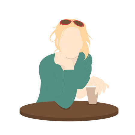 Single woman drinking coffee at the coffee table. Flat design. Vector Illustration. Eps10 向量圖像