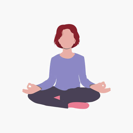 Young woman is practicing yoga assana. Meditation. Simple flat illustration. Perfect for posters, prints and web projects. Vector. Eps10 向量圖像