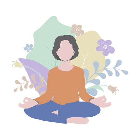Young woman is practicing yoga assana, lotus position, meditation. Simple flat illustration with floral background. Perfect for cards, posters, prints and web projects. Vector.
