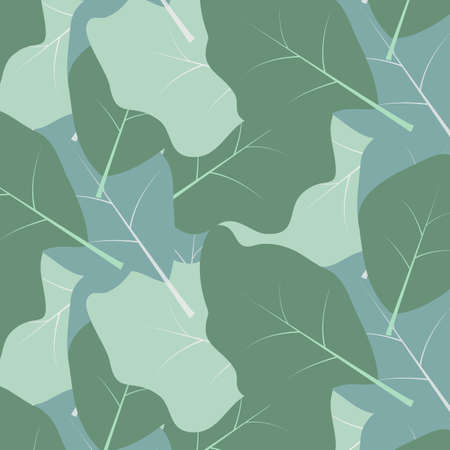 Seamless pattern with green leaves. Pattern is  saved in swatch panel. Vector 向量圖像