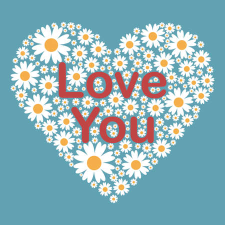 Greeting card with Love You phrase in red collor and a big floral heart with camomile flowers on bright blue background. Vector Illustration.Perfect for posters, banners, cards. Eps10. 向量圖像