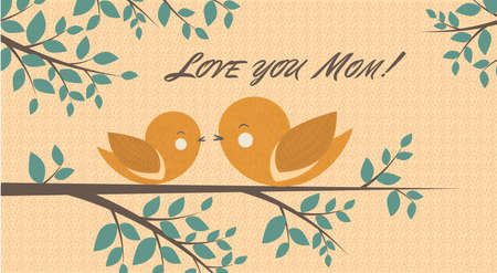 Vector Illustration with Two cute birds, Mom and Baby-bird, are sitting on a branch and Love You Mom! phrase in Brick and green colors.  Perfect for cards, poster design and book illustration.
