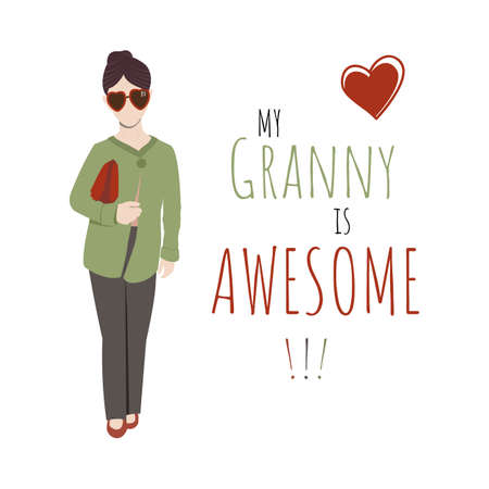 Flat design illustration with elegant and fashion old lady, My granny is Awesome text in green and red colors on white background. Vector Illustration.
