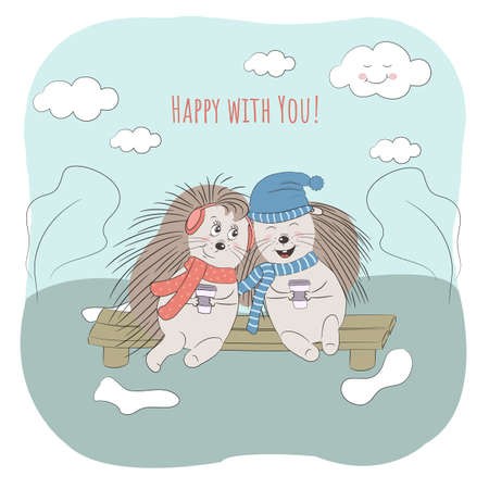 Happy With You text. Greeting card design with positive image of happy couple of hedgehogs sitting on a bench. Perfect for invitation, notebooks,covers, banner,poster, kids cards . Vector.Eps10