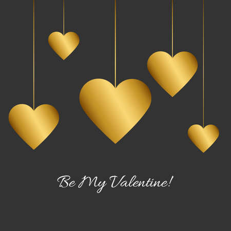 Vector illustration with gold heart and romantic phrase Be my Valentine! on black background. Simple Classic design. Eps 10. 向量圖像