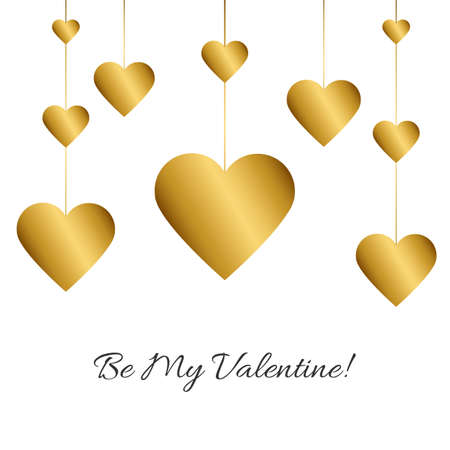 Vector illustration with gold garland of hearts and romantic phrase Be My Valentine! on white background. Simple Classic design. Eps 10.