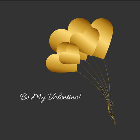 Vector illustration with gold heart balloons and romantic phrase Be my Valentine! on black background. Simple Classic design. Eps 10. 向量圖像