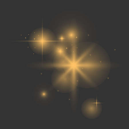 Vector glowing lights effect, flare, explosian and stars. Special effect isolated on dark background background. Gold. Yellow. Vector Eps10.