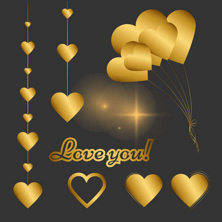 Classic elegant Set of gold elements for design : Balloons, Garlands, blurs, hearts, Sticker with Love You phrase. Perfect for wedding design, Valentine's Day and other design  projects.