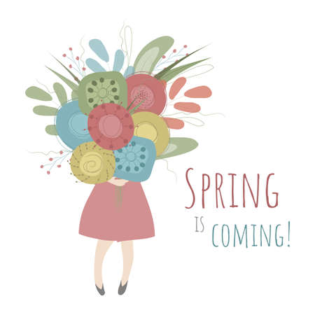 A girl is holding a big bouquet of colorful spring flowers. Vector illustration in white, res, blue, yellow and green colors  with romantic text Spring is Coming! Perfect for greeting cards, posters.
