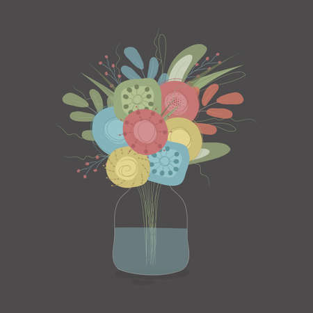 Spring bouquet in a jar with water on dark background. Vintage illustartion. Perfect for wall art, cards, posters, scrapbooking and other desing project. Vector EPS10
