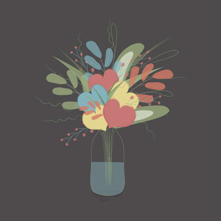 Spring bouquet of flowers and hearts in a bottle with water on dark background. Vintage illustration. Perfect for wall art, cards, posters, scrap booking and other design project. Vector
